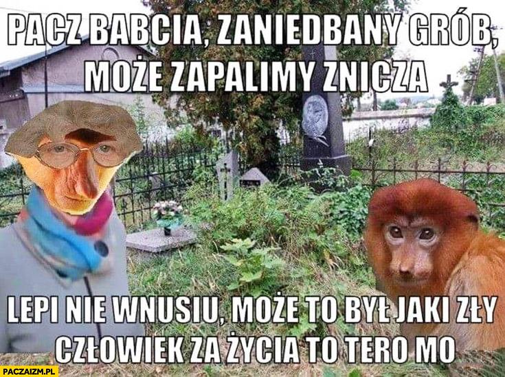 Patrz babcia zaniedbany grób może zapalimy znicz, lepiej nie wnusiu może to był zły człowiek za życia to teraz ma typowy Polak nosacz małpa