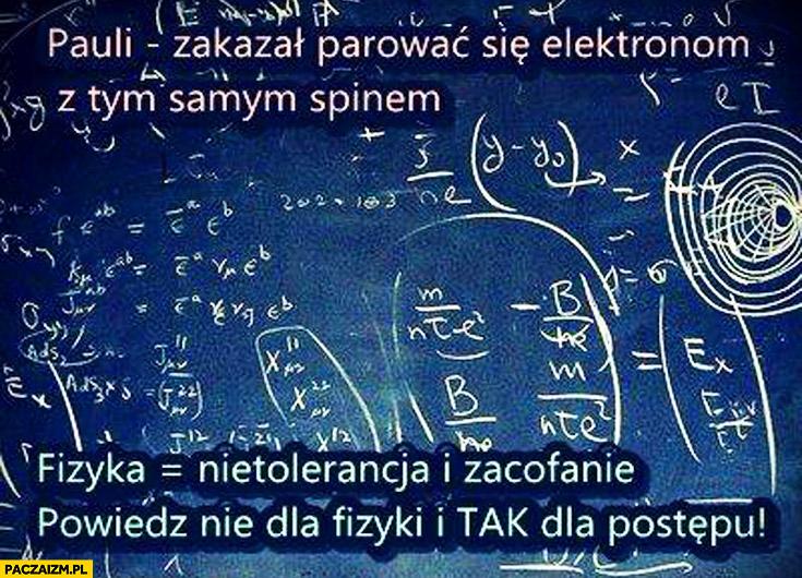 Pauli zakazał parować się elektronom z tym samym spinem fizyka nietolerancja i zacofanie powiedz nie dla fizyki i tak dla postępu