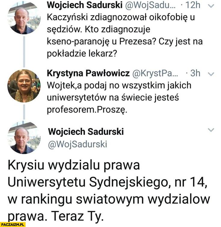 Pawłowicz Sadurski Wojtek podaj no jakich Uniwersystetów na świecie jesteś profesorem Uniwersytetu Sydnejskiego 14. na świecie teraz Ty rozmowa na twitterze
