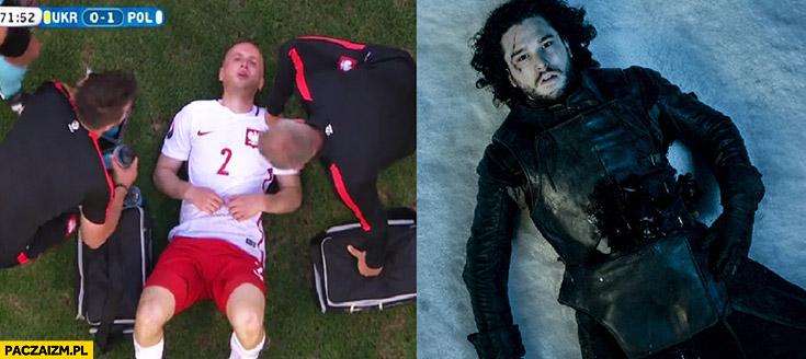 Pazdan leży jak Jon Snow mecz z Ukrainą