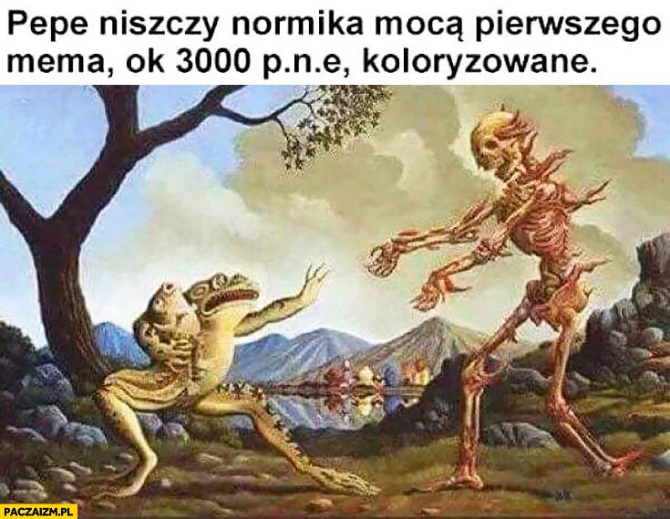 Pepe niszczy normika mocą pierwszego mema rok 3000 p.n.e. koloryzowane