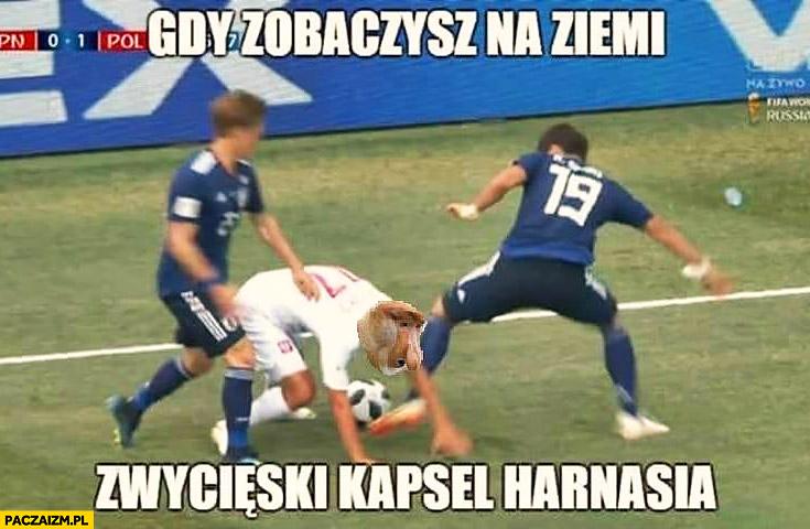 Peszko gdy zobaczysz na ziemi zwycięski kapsel Harnasia mecz Polska Japonia typowy Polak nosacz małpa