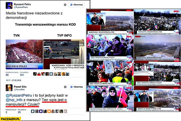 Petru manipuluje zdjęcia z marszu KOD relacja w telewizji