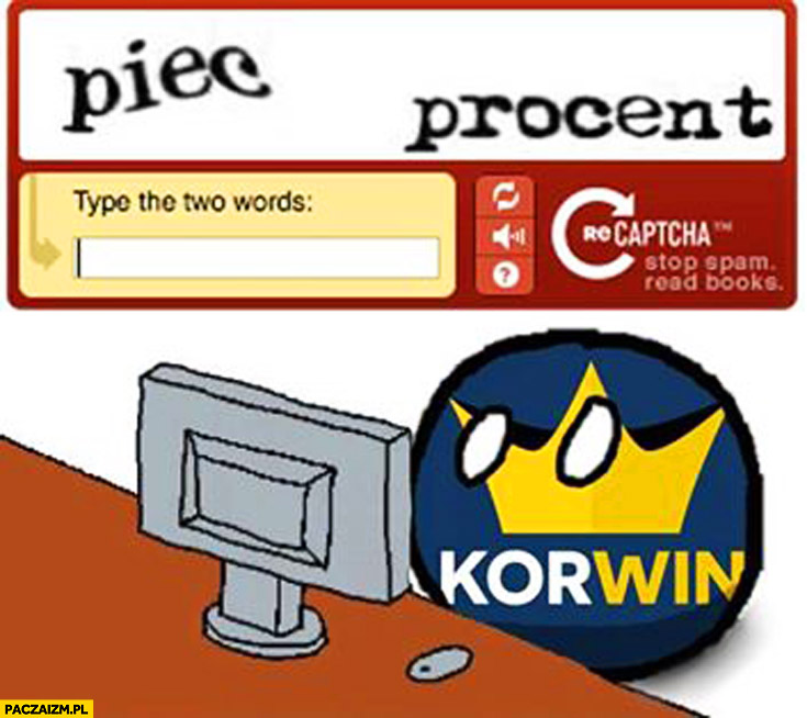 Pięć procent captcha partia Korwin fail