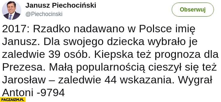 Piechociński na twitterze 2017 rzadko nadawano w Polsce imię Janusz zaledwie 39 osób, kiepska prognoza dla prezesa Jarosław 44 razy, wygrał Antoni 9794 razy
