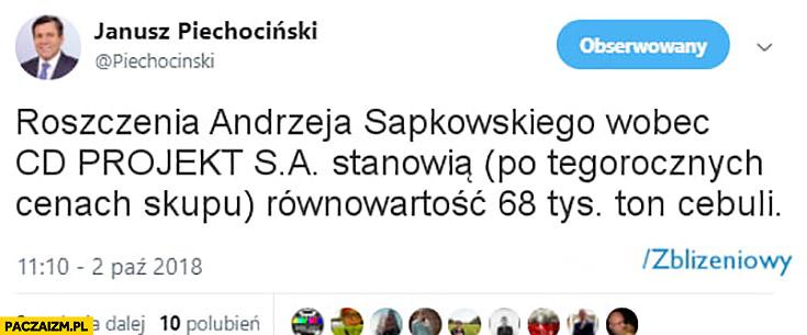 Piechociński na twitterze: roszczenia Andrzeja Sapkowskiego wobec cd projekt stanowią równowartość 68 tys ton cebuli