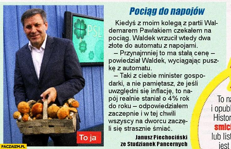 Piechociński śmieszna historyjka z gazety pociąg do napojów