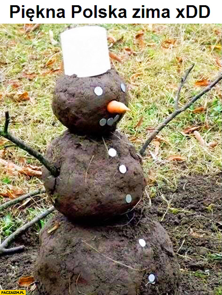 Piękna polska zima bałwan z ziemi