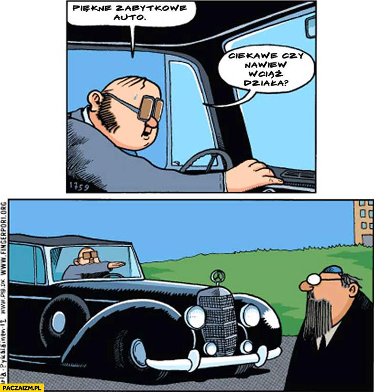 Piękne zabytkowe auto, ciekawe czy nawiew wciąż działa? Hailuje przestraszony żyd