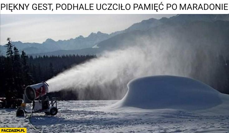 Piękny gest Podhale uczciło pamięć po Maradonie armatka śnieżna