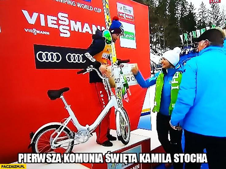 Pierwsza komunia święta Kamila Stocha dostaje rower składaka Planica