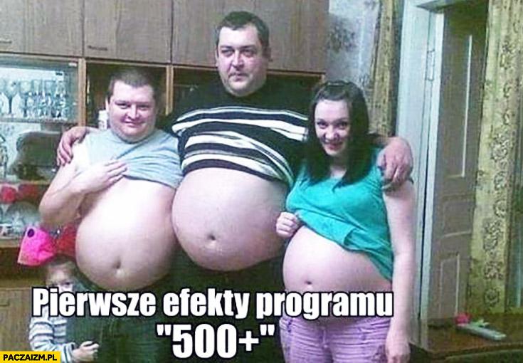 Pierwsze efekty programu 500+ plus cała rodzina w ciąży faceci grube brzuchy