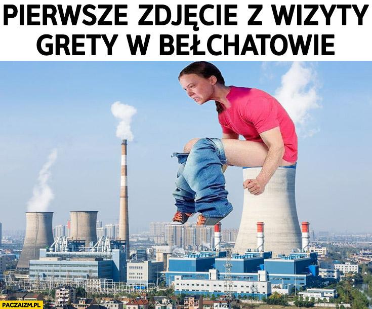 Pierwsze zdjęcie z wizyty Grety Thunberg w elektrowni w Bełchatowie sra załatwia się do komina