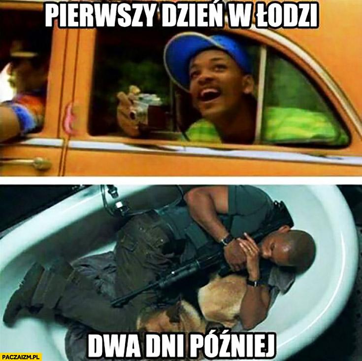 Pierwszy dzień w Łodzi podziwia vs dwa dni później śpi w wannie z karabinem Will Smith