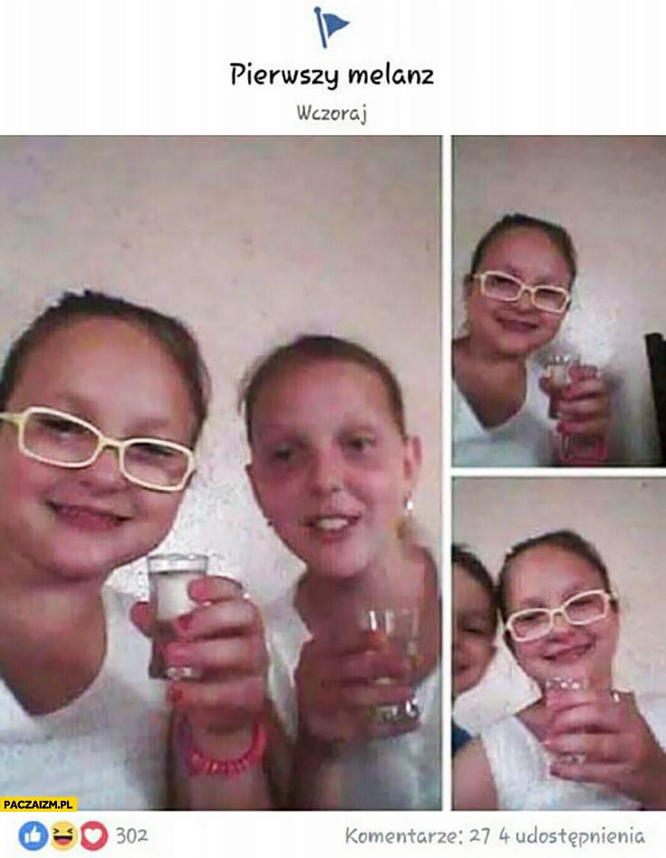 Pierwszy melanż na facebooku dzieci piją wódkę