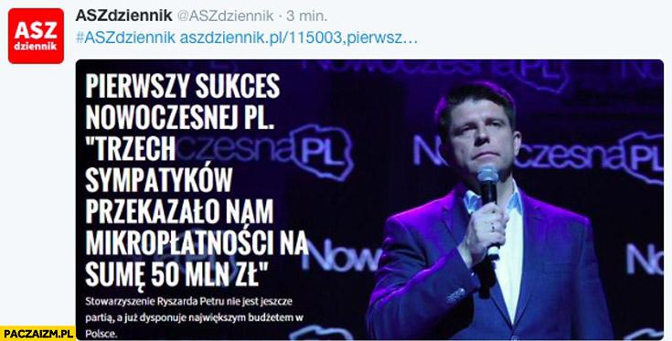 Pierwszy sukces Nowoczesnej PL trzech sympatyków przekazało mikropłatności na sumę 50 mln zł
