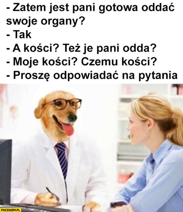 Pies lekarz jest pani gotowa oddać swoje organy? A kości? Też je pani odda?