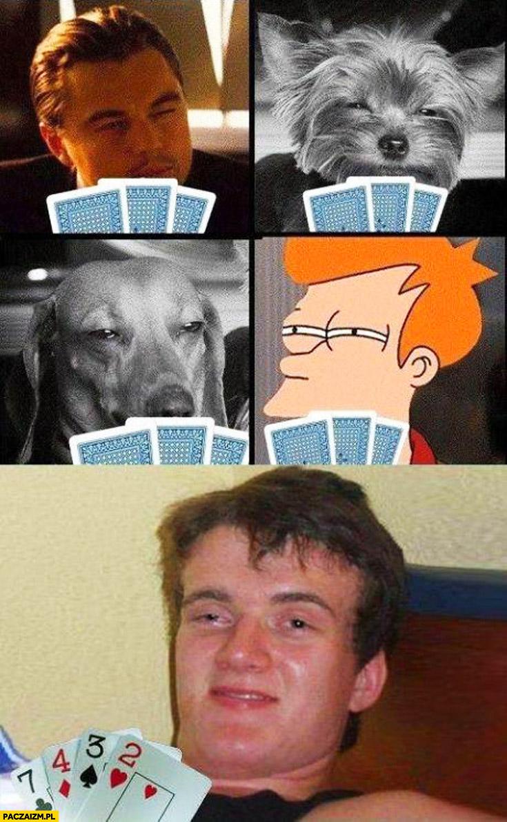 Pies psy Leonardo DiCaprio zjarany Zbyszek grają w karty w pokera