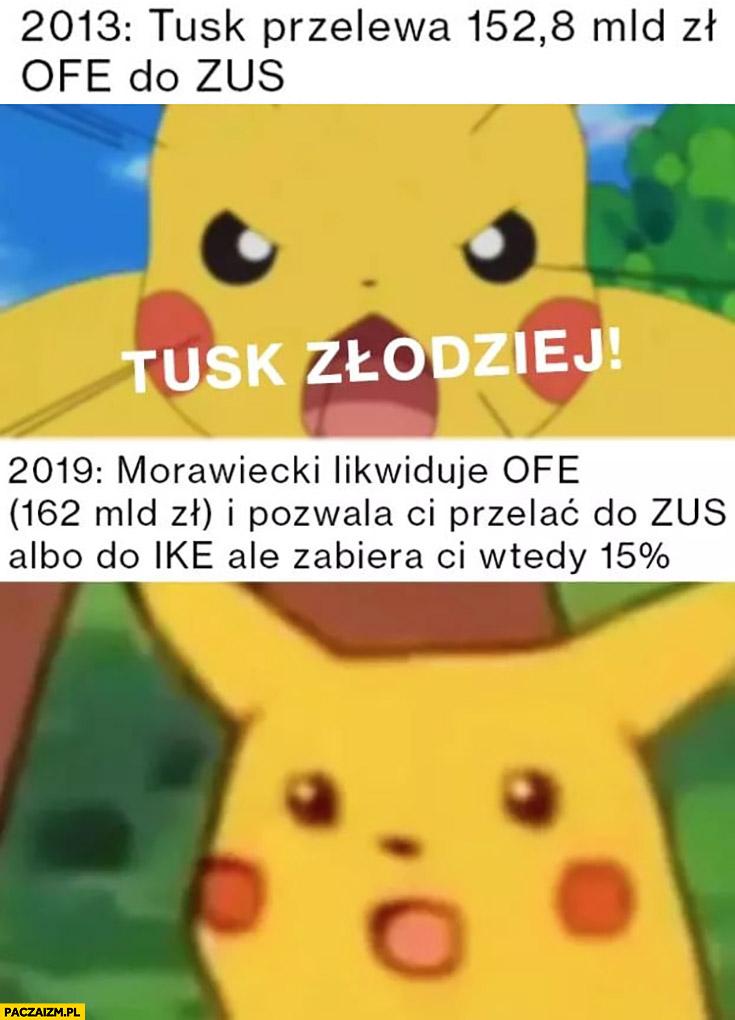 Pikachu 2013 Tusk złodziej z OFE 2019 Morawiecki robi to samo zdziwiony