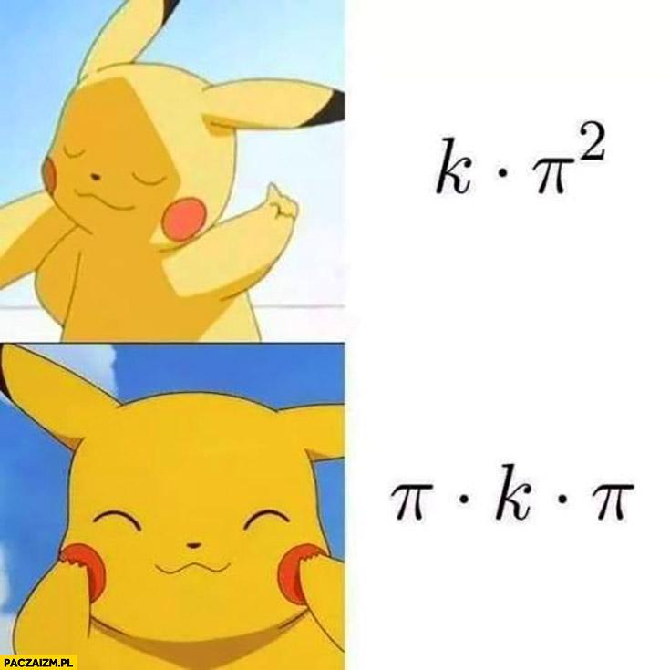 Pikachu Pokemon k pi kwadrat nie woli pi ka pi matematyka