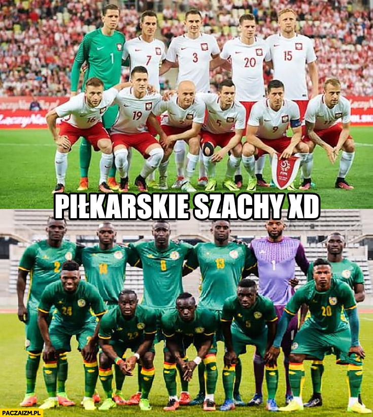 Piłkarskie szachy mecz Polska Senegal na mundialu czarni biali