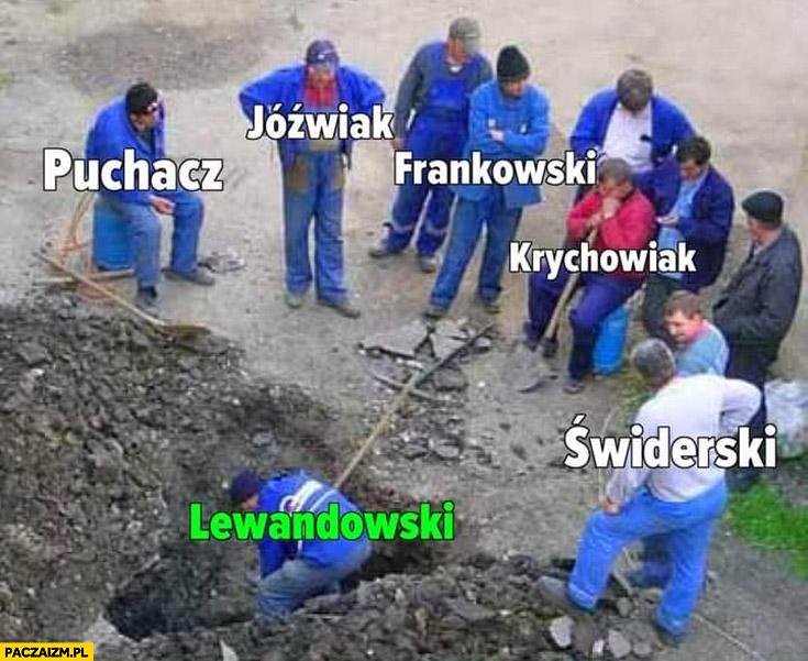 Piłkarze robotnicy tylko Lewandowski pracuje reszta się przygląda na budowie
