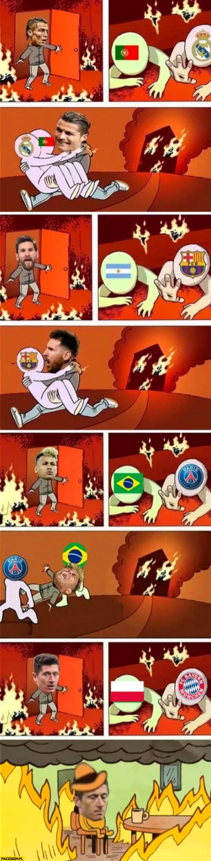Piłkarze Ronaldo, Messi, Neymar ratują swoje drużyny z pożaru Lewandowski nie ratuje