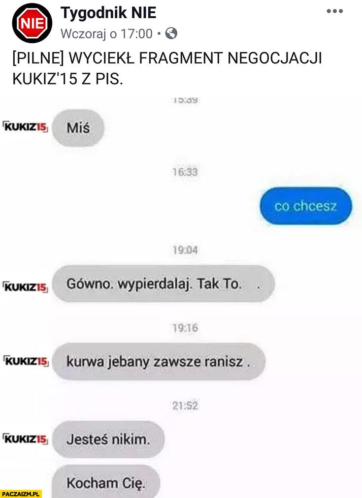 Pilne wyciekł fragment negocjacji Kukiz15 z PiS Tygodnik nie