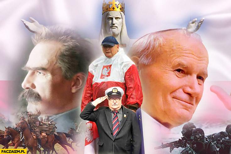 Piłsudski Jan Paweł 2 Wałęsa Jezus Kaczyński płaszcz kurtka peleryna przeciwdeszczowa flaga polski przeróbka