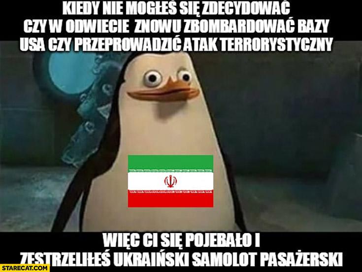 Pingwin Iran kiedy nie mogłeś się zdecydować o odwecie wiec Ci się porypało i zestrzeliłeś Ukraiński samolot pasażerski