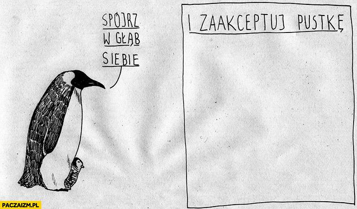 Pingwin spójrz w głąb siebie i zaakceptuj pustkę