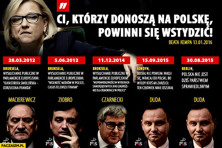 PiS Beata Kempa ci którzy donoszą na Polskę powinni się wstydzić cytaty Macierewicz Ziobro Czarnecki Duda