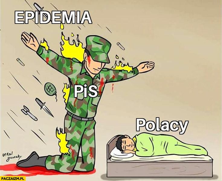 PiS chroni polaków przed epidemią rysunek żołnierz
