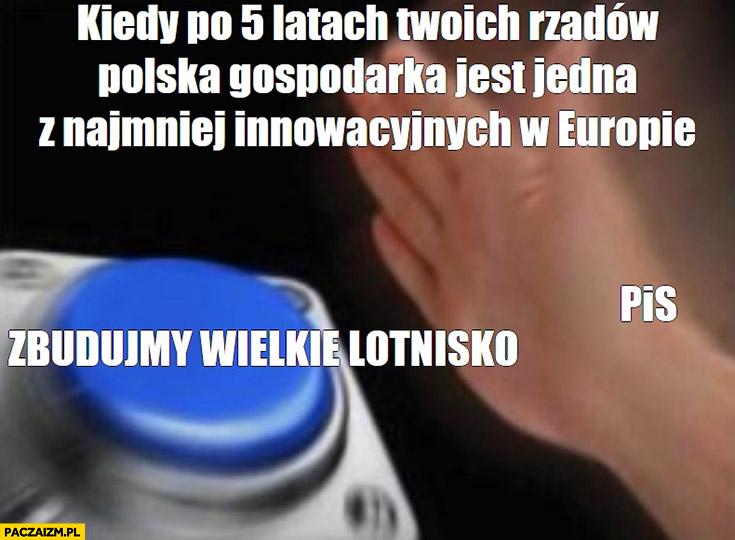 PiS kiedy po 5 latach Twoich rządów Polska gospodarka jest jedną z najmniej innowacyjnych w Europie, zbudujmy wielkie lotnisko przycisk