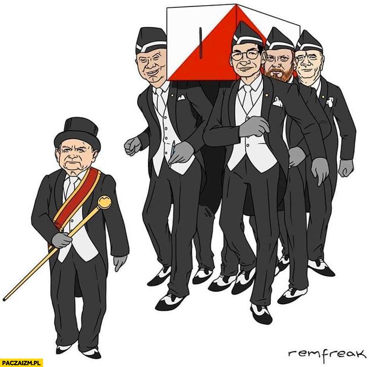 PiS niosą orne trumnę wybory murzyni tańczący z urną przeróbka