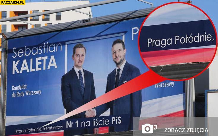 PiS plakat billboard kandydata Praga Połódnie błąd ortograficzny
