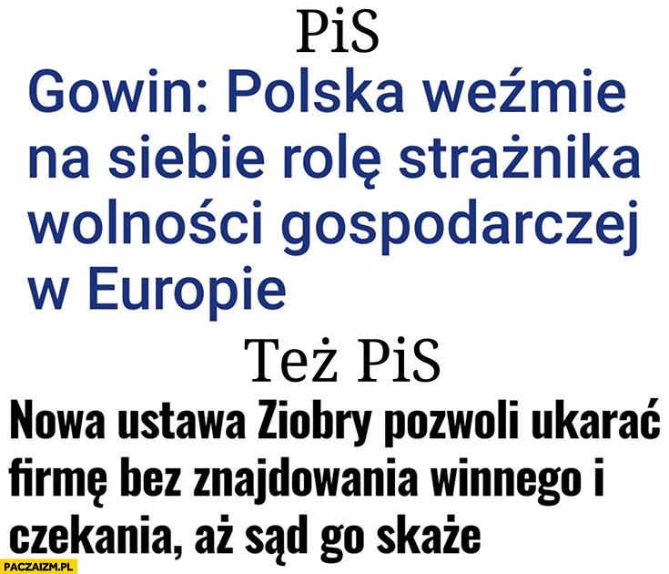 PiS: Polska weźmie na siebie rolę strażnika wolności gospodarczej, też PiS: nowa ustawa Ziobry pozwoli ukarać firmę bez znajdowania winnego i czekania aż sąd go skaże