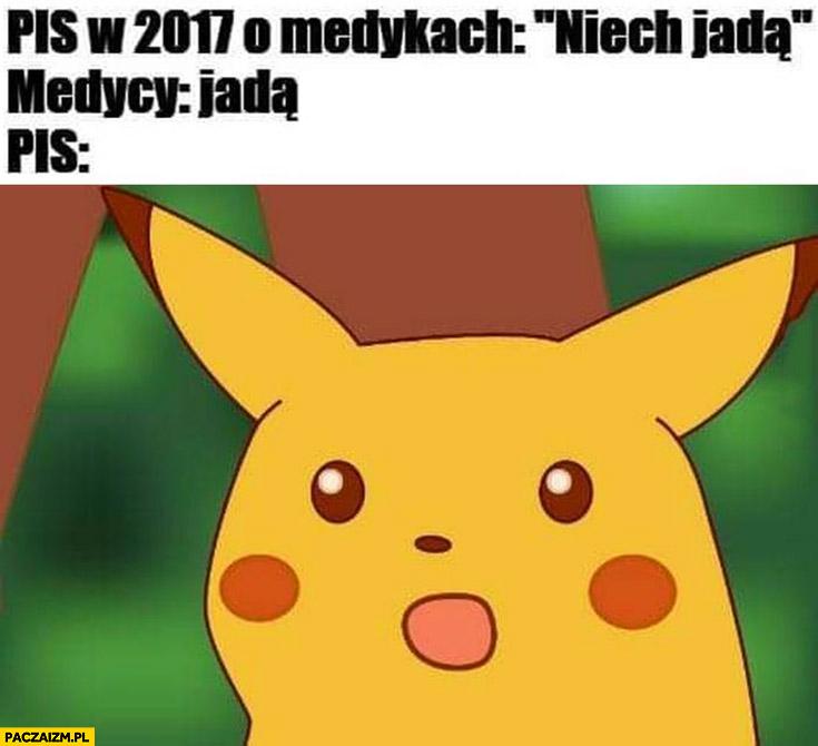PiS w 2017 o medykach: niech jadą, medycy: jadą, PiS zdziwiony Pikachu