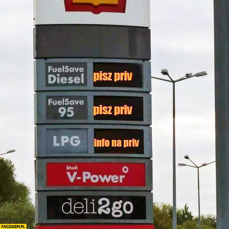 Pisz priv, info na priv. Ceny paliw benzyny na stacji benzynowej