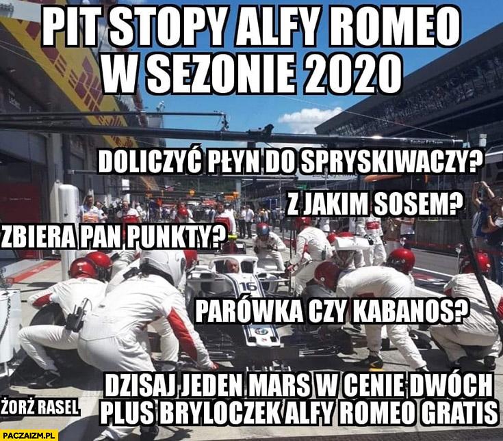 Pit stopy Alfy Romeo w sezonie 2020 Orlen zbiera pan punkty? Parówka czy kabanos, z jakim sosem? Kubica F1 Formuła 1