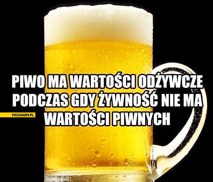 Piwo ma wartości odżywcze żywność nie ma wartości piwnych