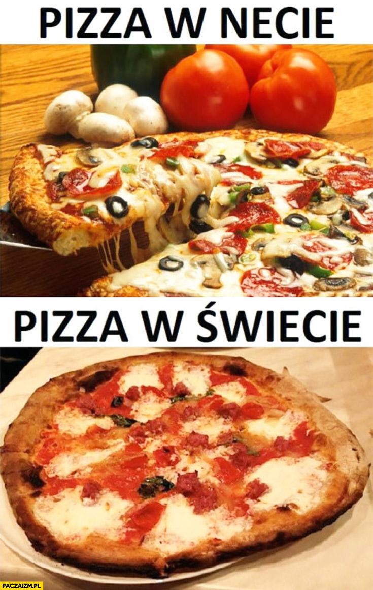 Pizza w necie pyszna piękna, pizza w świecie brzydka porównanie