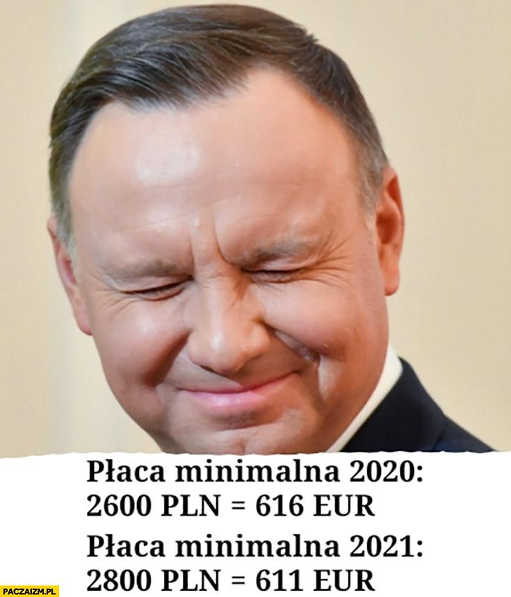 Płaca minimalna 2020: 2600 PLN czyli 616 euro, w 2021: 2800 PLN czyli 611 euro