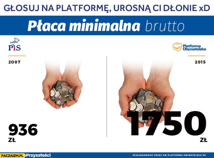 Płaca minimalna brutto głosuj na PO Platformę a urosną Ci dłonie