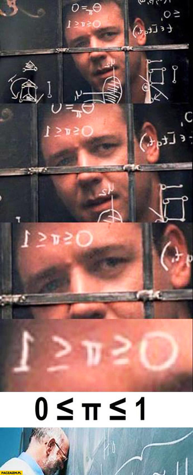 Plakat filmowy Piękny umysł Pi większe od zera mniejsze od 1 fail