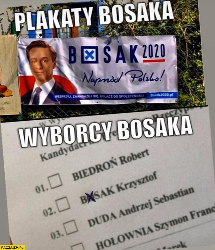 Plakaty Bosaka krzyżyk w o, wyborcy Bosaka źle zaznaczają na karcie