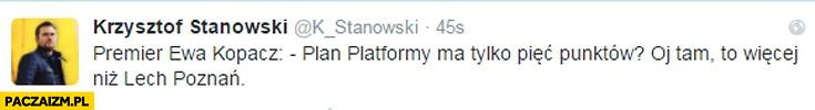 Plan platformy ma tylko pięć punktów to więcej niż Lech Poznań