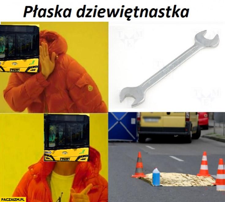 Płaska dziewiętnastka klucz w Katowicach potrącona dziewczyna autbus