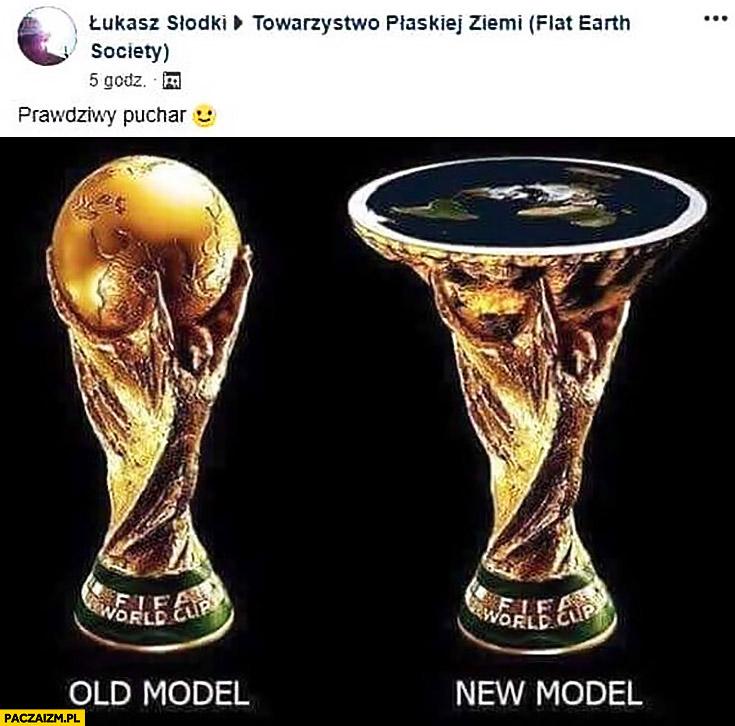 Płaskoziemcy prawdziwy puchar FIFA mundial z płaską ziemią zamiast globu na górze przeróbka