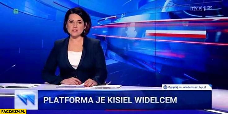 Platforma je kisiel widelcem pasek Wiadomości TVP